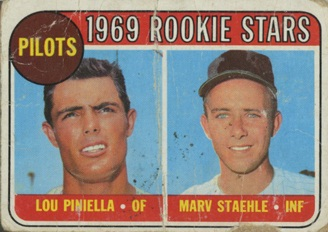 Seattle Pilots Rookie Card | 1969 | Lou Piniella | Marv Staehle | Baseball Card | Baseballisms.com