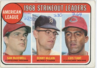 Topps 1969 Baseball Card | 1968 Strikeout Leaders | Baseballisms.com