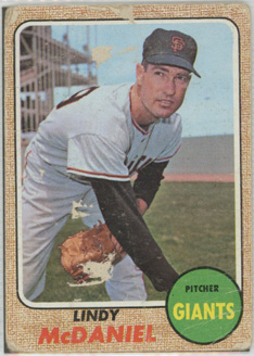 Topps 1968 Baseball Card | Lyndy McDaniel | San Francisco Giants | Baseballisms.com