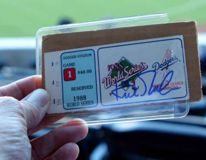Kirk Gibson autograph | 1988 World Series Ticket | Jim Bawbe | Baseballisms.com