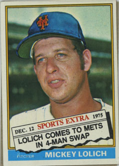 Topps 1976 Baseball Card | Mickey Lolich | New York Mets | Baseballisms.com