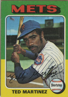 Topps 1975 Baseball Card | Ted Martinez | New York Mets | Baseballisms.com