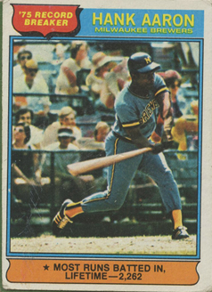 Topps 1976 Record Breaker Baseball Card | Hank Aaron | Milwaukee Brewers | Baseballisms.com