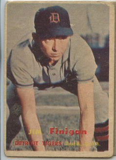 Topps 1957 Baseball Card | Jim Finigan | Detroit Tigers | Baseballisms.com
