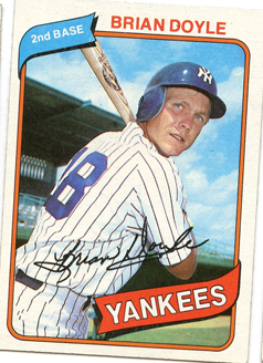 Topps 1980 Baseball Card | Brian Doyle | New York Yankees | Baseballisms.com