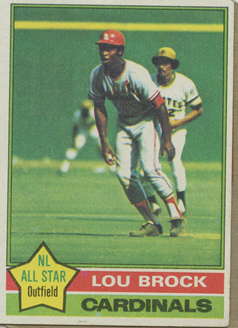 Topps 1976 Baseball Card | Lou Brock | St Louis Cardinals | Baseballisms.com