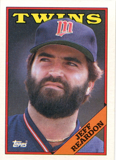 Topps 1988 Baseball Card | Jeff Reardon | Minnesota Twins | Baseballisms.com